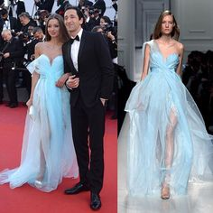 Cannes Film Festival, (@festivaldecannes) Opening Gala, the stunning model Lara Leito (@laraleito), Adrien Brody's girlfriend, (@adrienbrody) wears an #ErmannoScervino light blue organza gown! SS17 Collection. #ScervinoCeleb . #LaraLeito #AdrienBrody #Cannes70 #Cannes2017 #Opening #RedCarpet #Photocall #OpeningFilm #SS17 #SpringSummer #couture #gown #luxury #organza #glamour