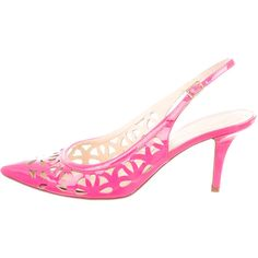 Pre-owned Kate Spade New York Pointed-Toe Pumps ($50) ❤ liked on Polyvore featuring shoes, pumps, pink, pink pointy toe pumps, pink ankle strap pumps, pink shoes, pointy-toe pumps and pointy toe ankle strap pumps