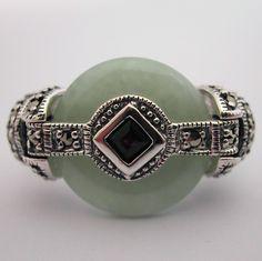 Bague art déco - Bague argent jade grenat marcassite 121 – Style Art Déco - Bijoux anciens Paris : argent