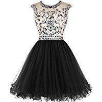 Tideclothes Short Beading Prom Dress Tulle Evening Dress Hollow Back
