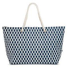 DEI Women's Rope Print Tote Handbag - Blue/White