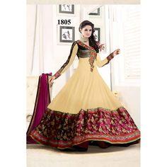 DESIGNER CREAM ANARKALI SALWAR SUIT at just Rs.1099/- on www.vendorvilla.com. Cash on Delivery, Easy Returns, Lowest Price.