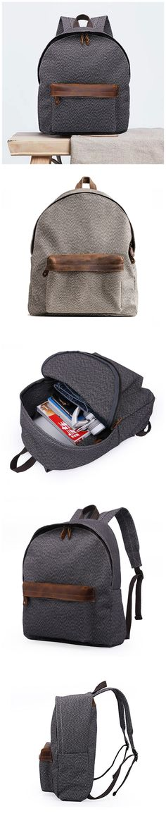Canvas Travel Backpack Laptop Backpack Durable Vintage Backpack QGX3705 Canvas Backpack, Laptop Backpack, Travel Backpack, Travel Bags, Photography Bags, Vintage Backpacks, Canvas Leather, Leather Men, Fashion Forward