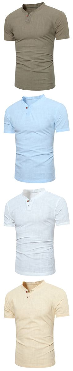 d5a0755ffa Mens Casual Linen V-neck Chinese Collar Short Sleeve T-shirt Fashion Solid  Color