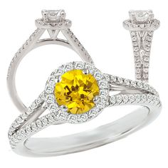 Elite Collection lab-grown round yellow sapphire engagement ring with natural diamond halo White Gold Rings, White Gold Diamonds, Natural Diamonds, Alexandrite Engagement Ring, Gemstone Engagement Rings, Alexandrite Ring, Yellow Sapphire Rings, Emerald Rings, Ruby Rings