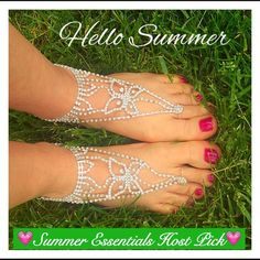 ❣LAST❣Pair 2 Butterfly Toe Anklets Beach Sandals Hello Summer!  Be the envy this season  in these super stunning sparkly butterfly toe anklets (beach sandals). Perfect for a beach wedding and can be worn with or without shoes. Two piece set - Silver - rhinestones - adjustable anklet with clasp & extender - toe ring adjustable -  one size fits most 💝💝💝💝💝💝💝💝 #closetcrush boho Jewelry Bracelets