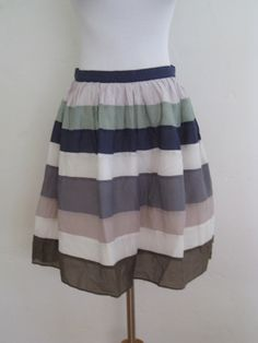Frenchic Cotton Silk Full Striped Mini Skirt S