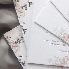 sweet, subtle roses mixed with the perfect grey letterpress for clare + kane 🌿 Letterpress, Invitations, Grey, Sweet, Roses, Instagram, Gray, Candy, Typography