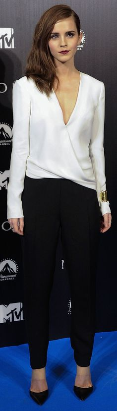 Emma Watson looks gorgeous in a black and white J. Mendel jumpsuit at the Noah premiere