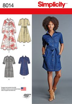 Pattern for Misses' Shirt Dress | Simplicity . View b w collar. Saw on so sew easy fb 5-15/16