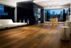 idée de revêtement de sol avec parquet salon avec un bel éclairage