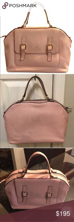 Kate spade bag Pink satchel by Kate Spade NEW YORK. Can be carried as a hand or shoulder bag. Bag has only been carried a few times. Has a dent mark at the back and small stain from denim. Includes original shoulder strap, care booklet and price tags which isnt attached. Doesn't come with cover. kate spade Bags Satchels
