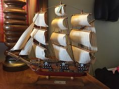 "USS Constitution 1814 Nautical Wood Vintage Model Collectible 16"" Long Ship"
