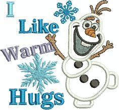 Frozen Olaf  I like warm hugs Applique by DitzyDotsBoutique