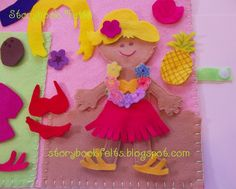 Storybook Felts Felt My Little Island Girl Luau Doll Dress Up Set With Book 28 PCS Paper Doll