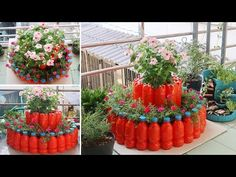 Amazing Flower Tower Pots, DIY recycle plastic bottles for small space Recycled Bottles, Recycle Plastic Bottles, Plastic Pots, Plastic Bottle Flowers, Flower Tower, Bottle Garden, Small Space Gardening, Garden Crafts, Raised Garden Beds