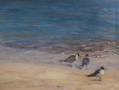 """""""Sandpipers"""" 30x40 Soothing beach colors. Oil on canvas. Click to see more of my art!"""