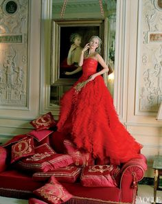 kate moss in red for vogue US