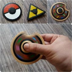 I know... more fidget spinners made with beads.  Inspired by the spinners from @christoperler and all the others, I wanted to give it a try and made three with a pokeball, triforce and donut design. They are not perfect, but nevertheless I'm pretty satisfied with the first try.   #bügelperlen #perler #hama #nabbi #artkal #bead #beads #artkalbeads #perlerbeads #fusebeads #hamabeads #nabbibeads #pixelart #beadart #fidget #spinner #fidgetspinner #pokemon #pokeball #zelda #triforce #donut