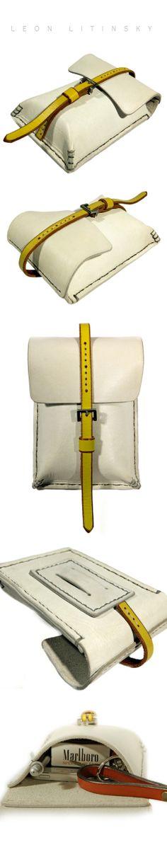 White Leather Bag by Leon Litinsky.