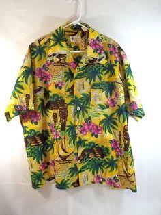 Hawaiian Shirt XL Tiki God Flowers Trees Outriggers Palm Trees of Bradford VTG #PalmTreesofBradford #Hawaiian