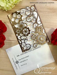 steampunk wedding invitation laser cut gears and hearts cut gatefold