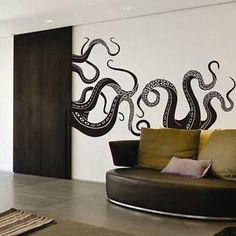 DigTour WallArt Vinyl Kraken Wall Decal Octopus Tentacles Wall Sticker Sea Monster Decals Squid Wall Graphic Mural Home Art Decor Black Animal Wall Decals, Wall Stickers Murals, Vinyl Wall Decals, Vinyl Art, Wall Mural, Decoration, Art Decor, Home Decor, Kraken