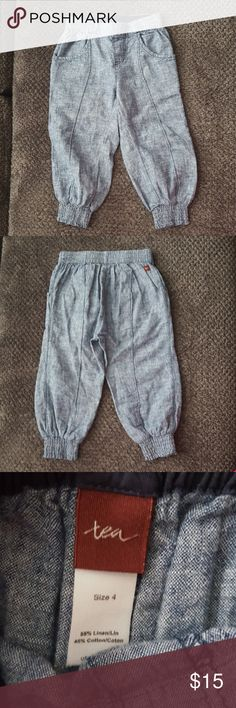 """Kids Tea Collection Pants Size 4  55% Linen/ 45% Cotton  Machine wash cold inside out and Tumble Dry Low Measurements laying flat: 10"""" Waist and 20"""" Length and 12"""" Inseam Great condtion/ only worn once Tea Collection Bottoms Sweatpants & Joggers"""