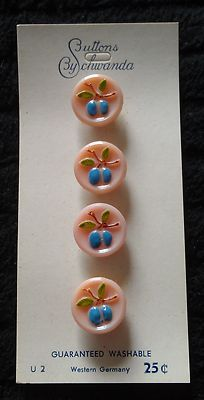 Vintage Pink Glass Fruit Buttons on A Card