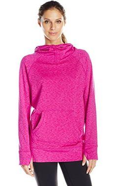 Calvin Klein Performance Women's Cold Gear Scuba Hooded Sweatshirt, Lotus Melange, Large ❤ Calvin Klein Performance Women's Activewear