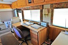 desk for rvs Bus Rv Conversion, Luxury Rv, Desks For Small Spaces, Corner Desk, Furniture, Design, Home Decor, Corner Table, Decoration Home