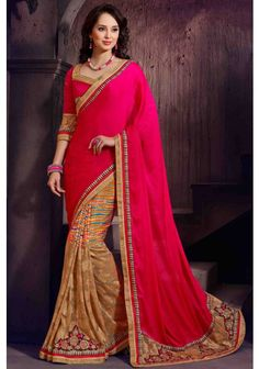 Rose madder #Red and Amber Yellow Faux #Chiffon and #Chinon Chiffon Embroidered Festival Saree Sku Code: 97-5672SA476597 US $ 60.00 http://www.sareez.com/rose-madder-red-and-amber-yellow-faux-chiffon-and-chinon-chiffon-embroidered-festival-saree.html