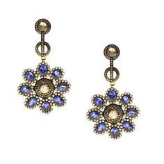 Gold K18 Diamonds Tanzanite Pearls Diamonds, Drop Earrings, Pearls, Natural, Gold, Jewelry, Jewlery, Jewerly, Beads