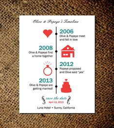 Timeline of Love - Save the Date Magnets or card - Custom save the date magnets No.1 via Etsy