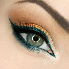 inspiration pour les yeux verts -trait eye liner en vert