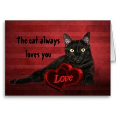 Black cat Valentine Card from Zazzle.com