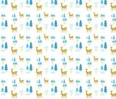 Meadow Deer45 SMALL -blue rain fabric by drapestudio on Spoonflower - custom fabric