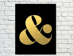 Typography Print Quote Print Ampersand Gold Pink by paperchat, $26.00
