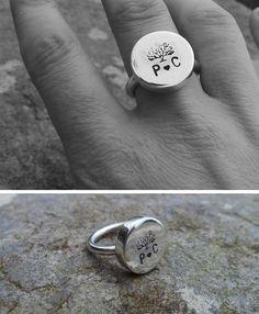 Bague mariée - Arbre de vie - Cadeau d'anniversaire de mariage - Rachel LeCorvic - Gravure initiales mariés
