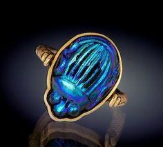 14K Gold Tiffany Favrile Glass Beetle Ring, Circa 1910