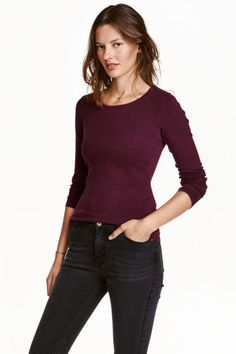 Long-sleeved jersey top: CONSCIOUS. Fitted long-sleeved top in stretch jersey…