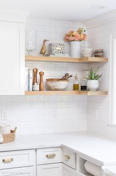 Open Kitchen Shelves Instead of Cabinets: Bright white contemporary kitchen with. Open Kitchen Shelves Instead of Cabinets: Bright white contemporary kitchen with wood shelves and subway tiles New Kitchen Cabinets, Kitchen Shelves, Kitchen Countertops, Kitchen Decor, Kitchen Rack, Kitchen Tools, Kitchen Corner, Kitchen Island, Open Cabinet Kitchen