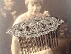 Art Deco Hair Comb Clear Pave Rhinestone Silver by AmoreTreasure