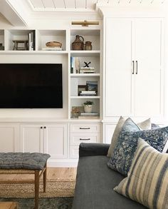 For-Your-Living-Room/ cozy family rooms, family room design with tv, small room Living Room Built Ins, Home Living Room, Living Room Designs, Living Room Decor, Living Room Storage, Cozy Family Rooms, Family Room Design, Bookshelf Design, Amber Interiors