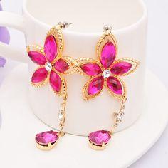 Fashion Ruby Drop Earring Jewelry Accessories Crystal Tassel Dangle Earring For Women $12.99