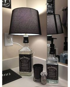 When you've got an empty wine bottle you then simply have to switch it a bit to show it into an exquisite lamp in your house. To make this lamp you must drill gap within the wine bottle. Then cross a wire via it and take it out from the … Liquor Bottle Crafts, Empty Wine Bottles, Alcohol Bottles, Glass Bottles, Diy Bottle, Liquor Bottle Lamps, Patron Bottle Crafts, Alcohol Bottle Decorations, Vodka Bottle