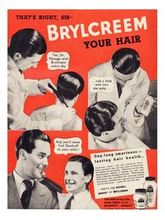 One of many original old adverts available from Retrofair vintage ads and prints Retro Advertising, Retro Ads, Vintage Advertisements, Vintage Ads, Vintage Style, Old Fashion Barber Shop, Brylcreem Hairstyles, Barber Poster, Hairstyle Names