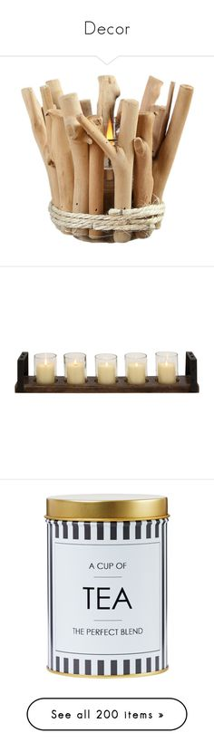 """""""Decor"""" by honey-beans-xo ❤ liked on Polyvore featuring home, home decor, candles & candleholders, candles, decor, filler, objects, wooden candle holders, outdoor candles and wood candle"""