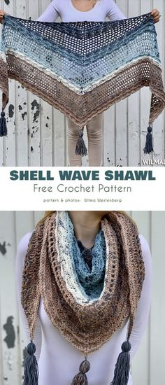 Shell Wave Shawl Free Crochet Pattern Here is a beautiful shawl in marine tones that will greatly complement any casual or working clothes-inspired attire.