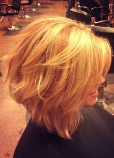 Angled Bob with Blonde and Copper foiled through by AmyErickson by susangir